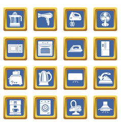 house appliance icons set blue square vector image