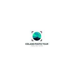 Iceland photo tour for travel logo vector