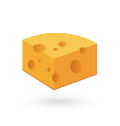 icon of cheese on white in vector image