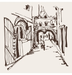 Ink sketching of historic narrow cobbled street in vector
