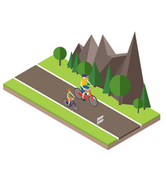 isometric countryside summer road woman and man vector image
