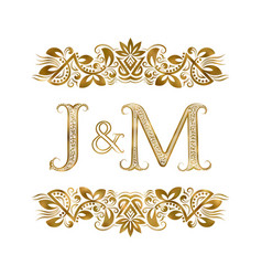 J and m vintage initials logo symbol letters vector
