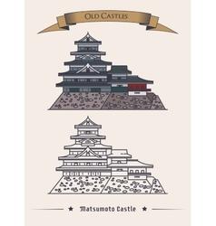 japan hirashiros matsumoto castle exterior view vector image