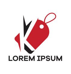 K letter logo design letter in discount tag vector