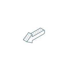 Left arrow isometric icon 3d line art technical vector