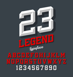 Legend typeface beveled sport style retro font vector