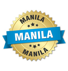 Manila round golden badge with blue ribbon vector