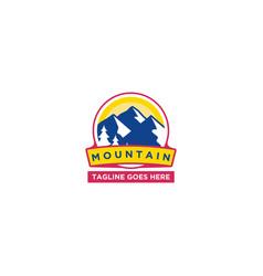 mountain sun logo design template happy colors vector image