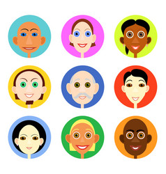 Multiethnic avatars set in flat style vector