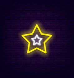 neon five point star vector image