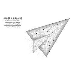 Paper airplane low poly design flight up in vector