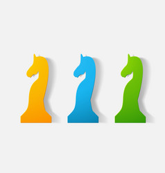 Paper clipped sticker chess piece horse vector