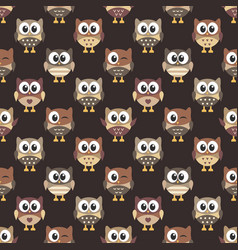 Pattern with cute brown owls vector