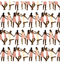 pattern with hand drawn girls vector image