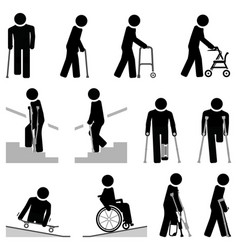 People use different types mobility aids vector