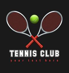 realistic tennis club emblem vector image