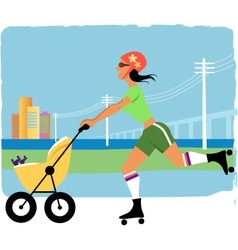Running with a stroller vector image