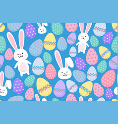Seamless easter pattern with ornamental eggs and vector