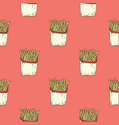 seamless pattern french fries in paper wrapper vector image