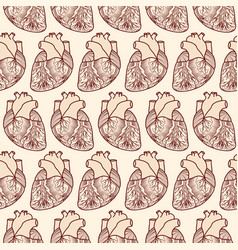 Seamless pattern made of anatomic hearts vector