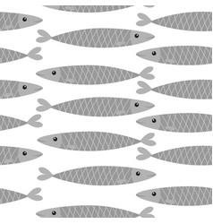 seamless pattern sardine gray fish icon set vector image
