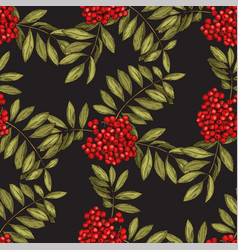 Seamless pattern with leaves and fruits of vector