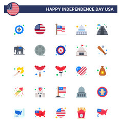 Set 25 flats on 4th july usa independence day vector