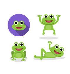 set green frog in cartoon style vector image