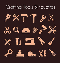 set of silhouette tools vector image