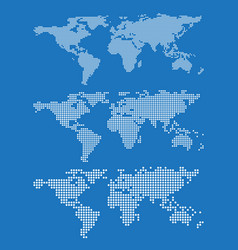 Set of world map outlines on a blue background vector