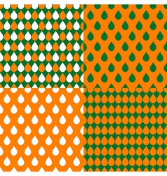 Set Orange Green Water Drops Background vector