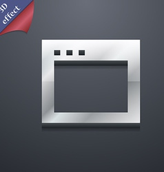 Simple Browser window icon symbol 3D style Trendy vector