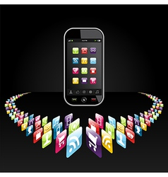 Smartphone apps icons presentation vector image