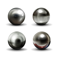 steel balls on white surface realistic vector image