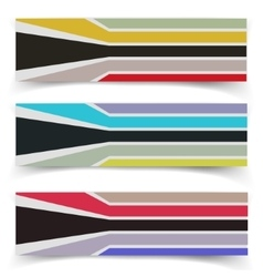 Striped fabric textured banners vector