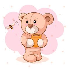 teddy bear with a keg honey vector image
