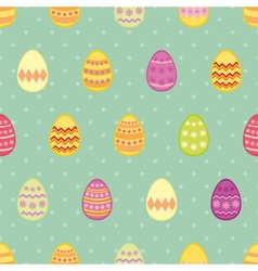 Tile pattern with easter eggs on mint blue vector image