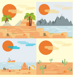 Travel background set in flat style vector
