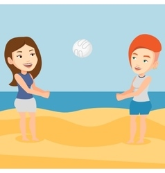 Two women playing beach volleyball vector