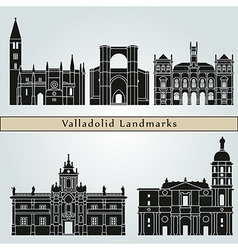Valladolid landmarks and monuments vector image