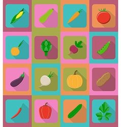 vegetables flat icons 19 vector image