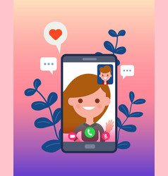 video call with his girlfriend or wife using vector image