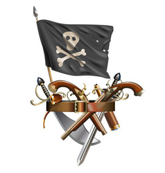 weapon belt with pirate flag vector image