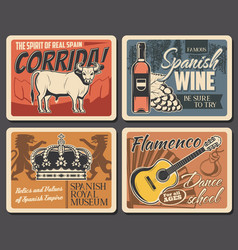 welcome to spain travel wine and music culture vector image