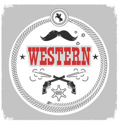 western label with cowboy decoration isolated vector image