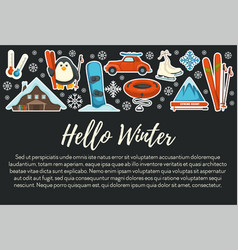 winter sport and extreme resort skiing and vector image