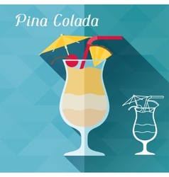 With glass of pina colada in flat design style vector