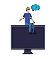 Young man seated in computer with speech bubble vector