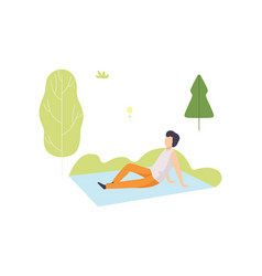 young man sitting on blanket in park guy relaxing vector image