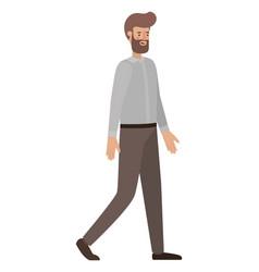 young man with beard walking avatar character vector image